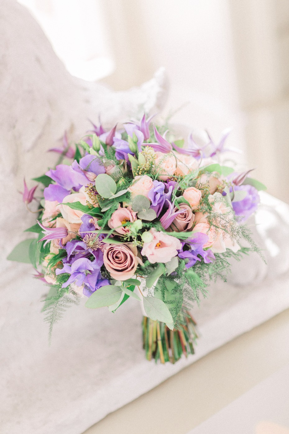 purple and pink wedding bouquet
