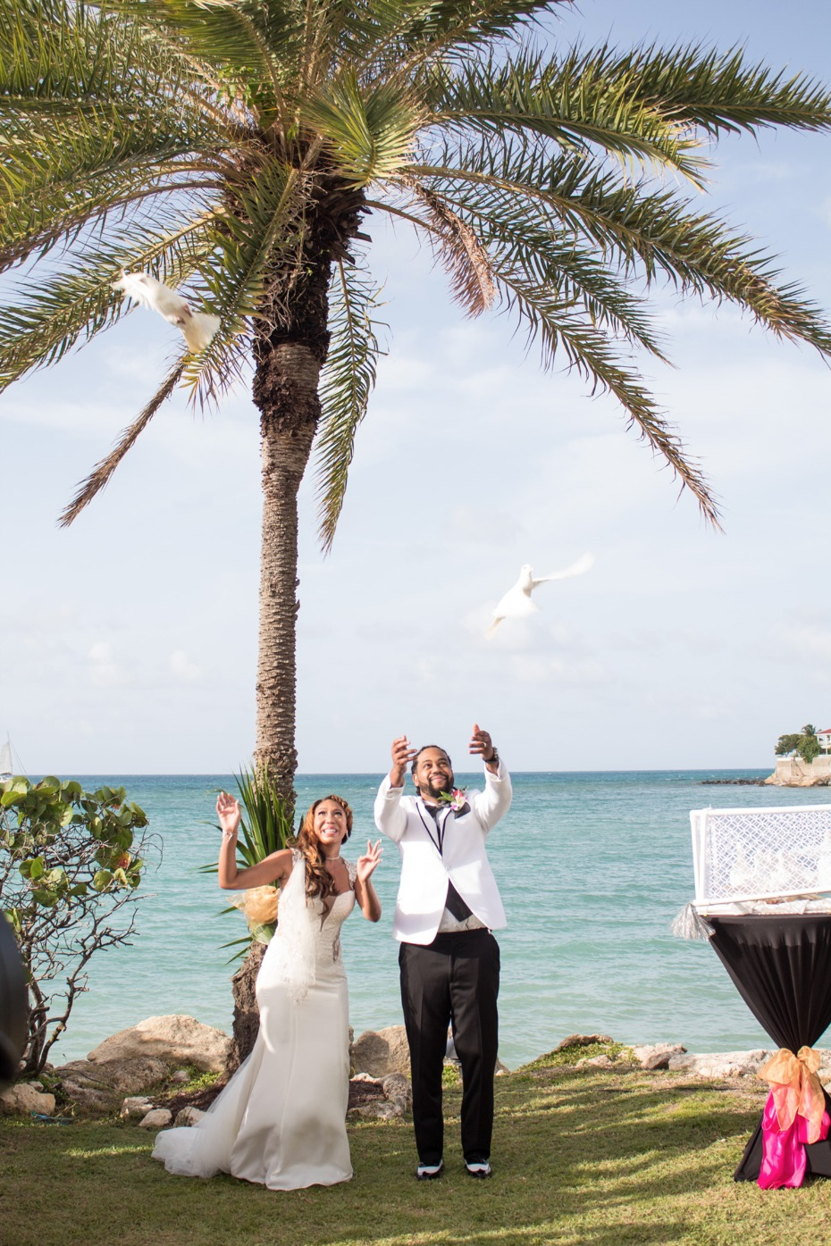 Dove release for their dream wedding in Antigua