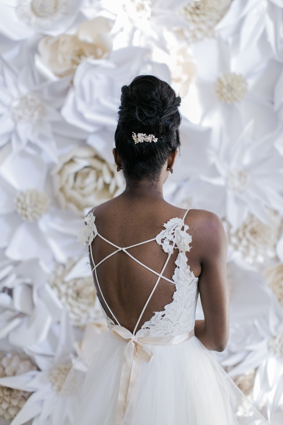 lacy and strappy wedding dress back
