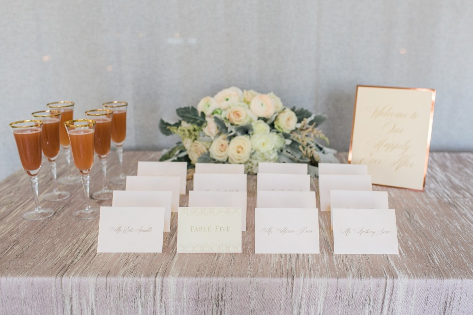 escort cards and cocktails