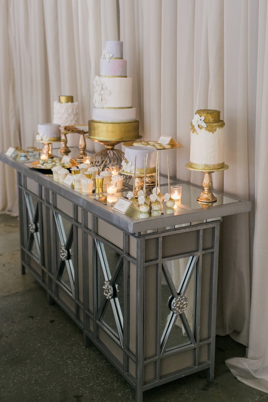 white and gold wedding dessert bar