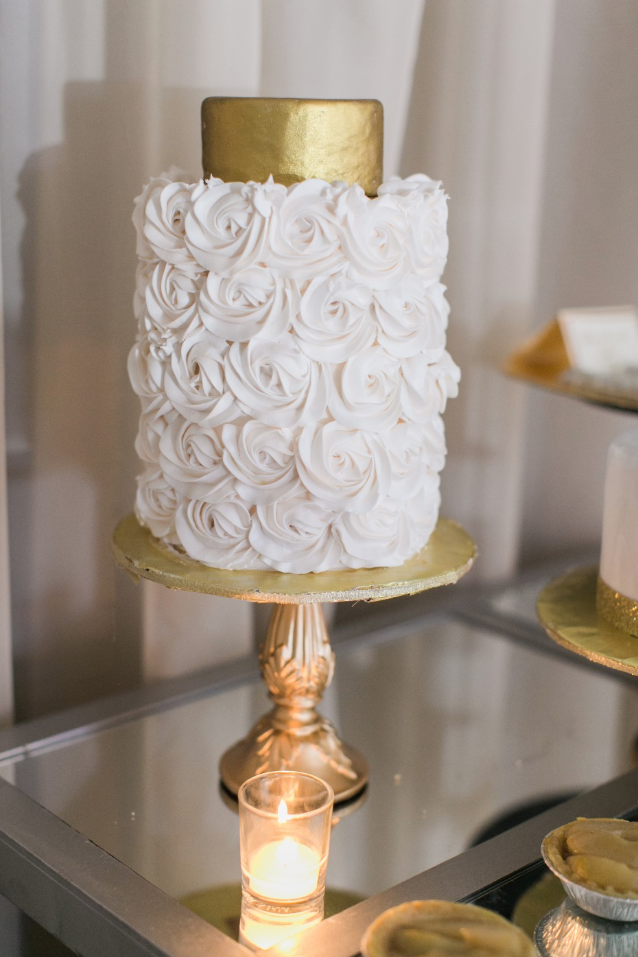elegant white and gold cake
