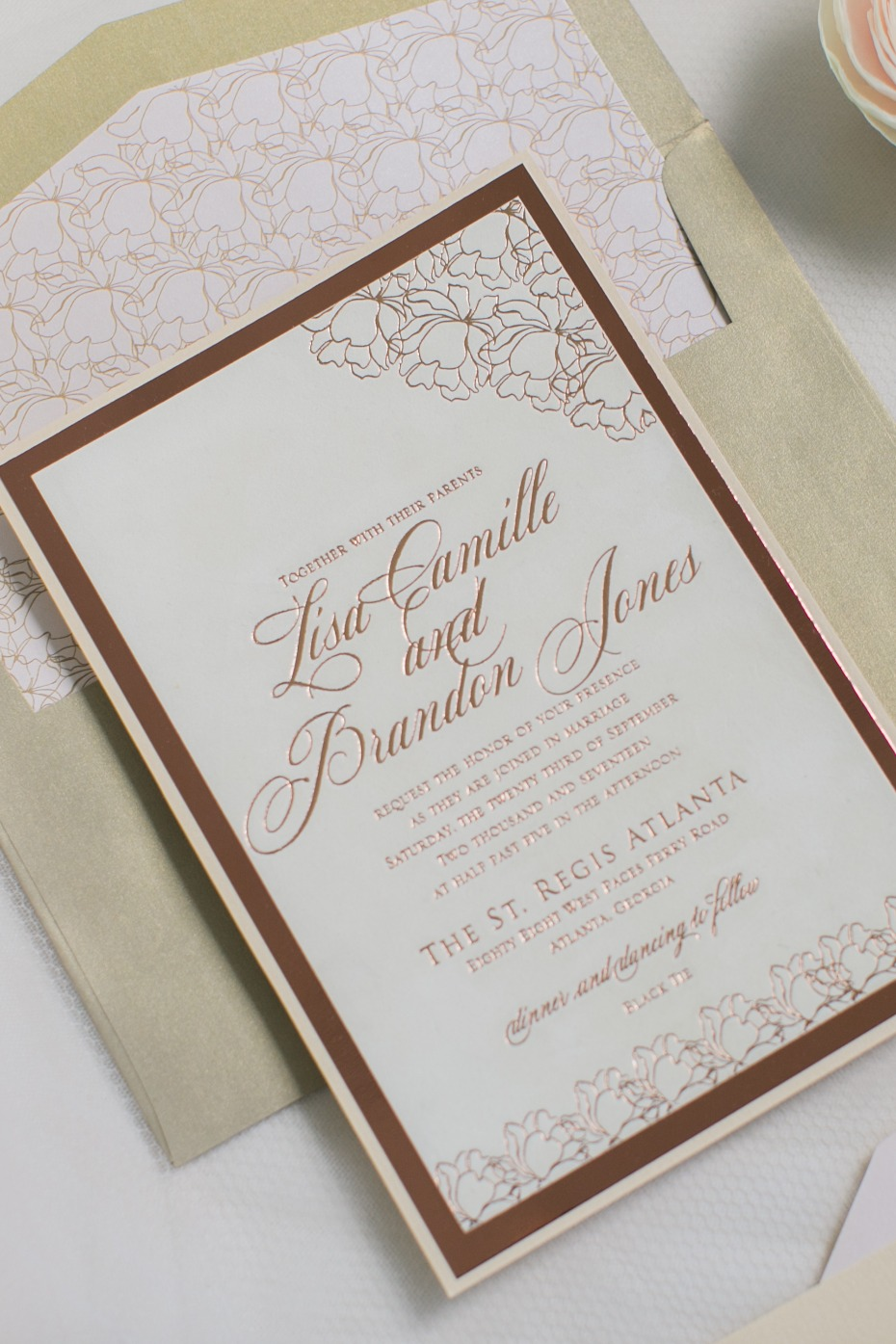 blush and copper wedding invitations