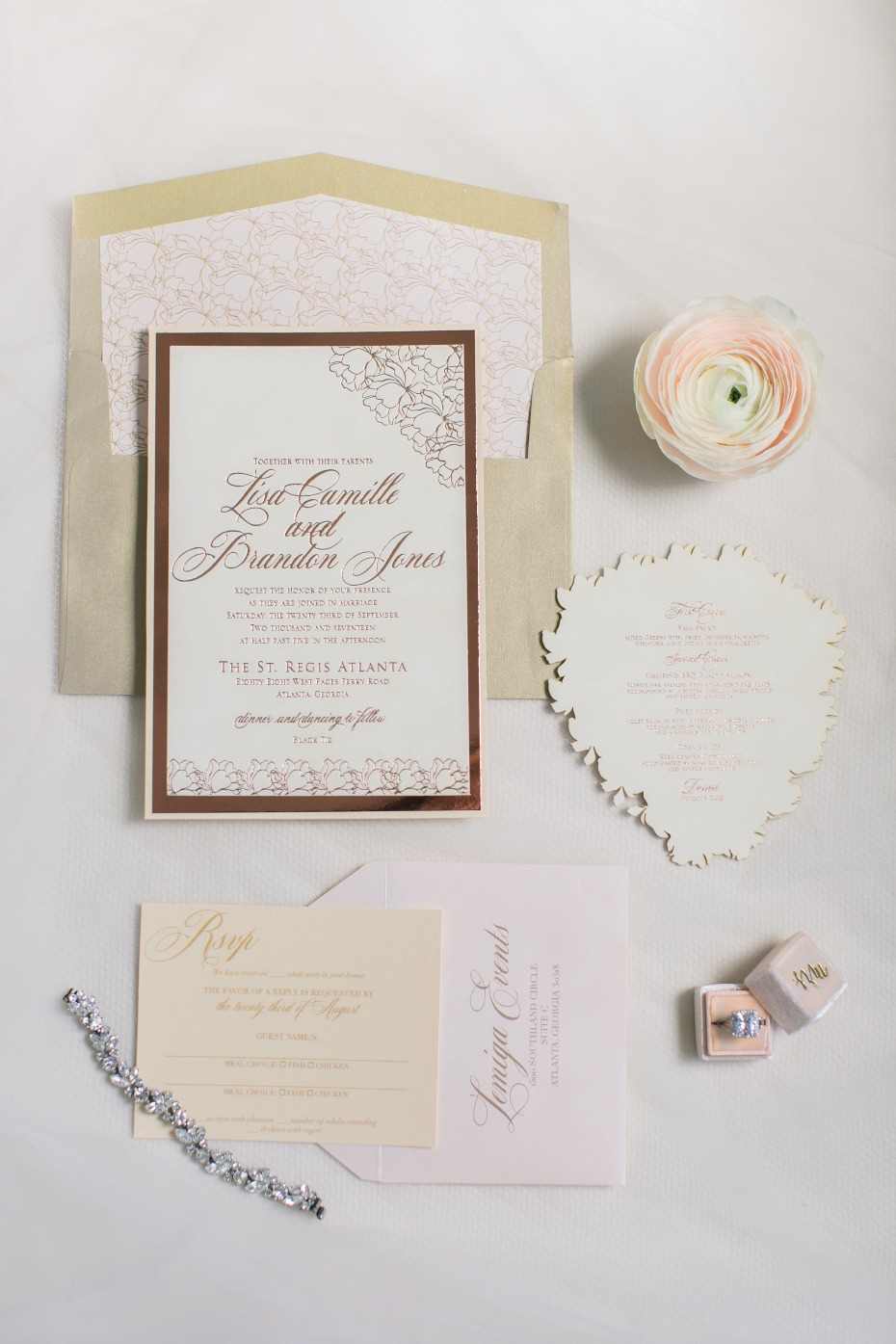 copper and blush wedding invitations