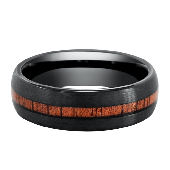 Mens Woodland Wedding Ring. Crafted out of black tungsten carbide and inlaid with genuine koa wood. This wood ring is 100% waterproof