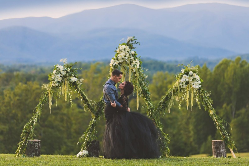 Looking for a more dramatic bridal look? Our black tutu makes an incredible dress for photos.