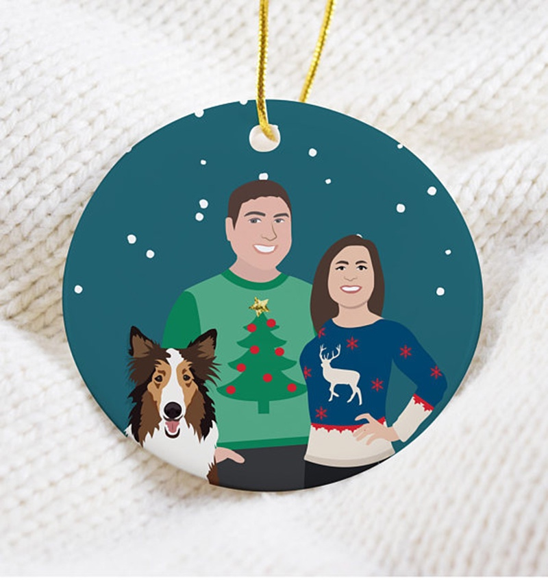 Miss Design Berry's ugly Christmas sweater personalized ornament features an illustrated couple made to look just like you. On the