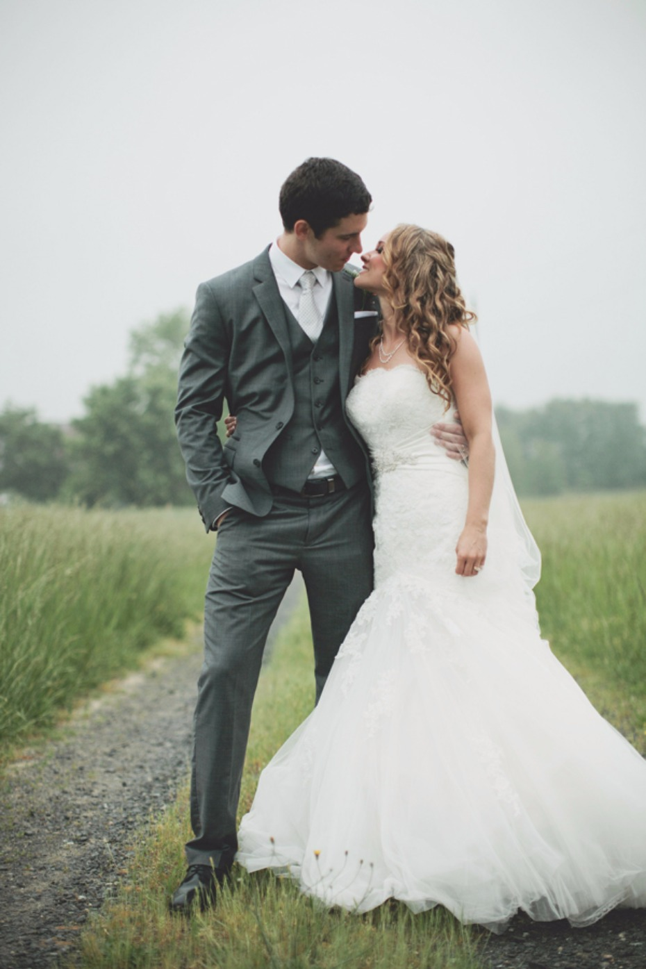 country wedding in the rain