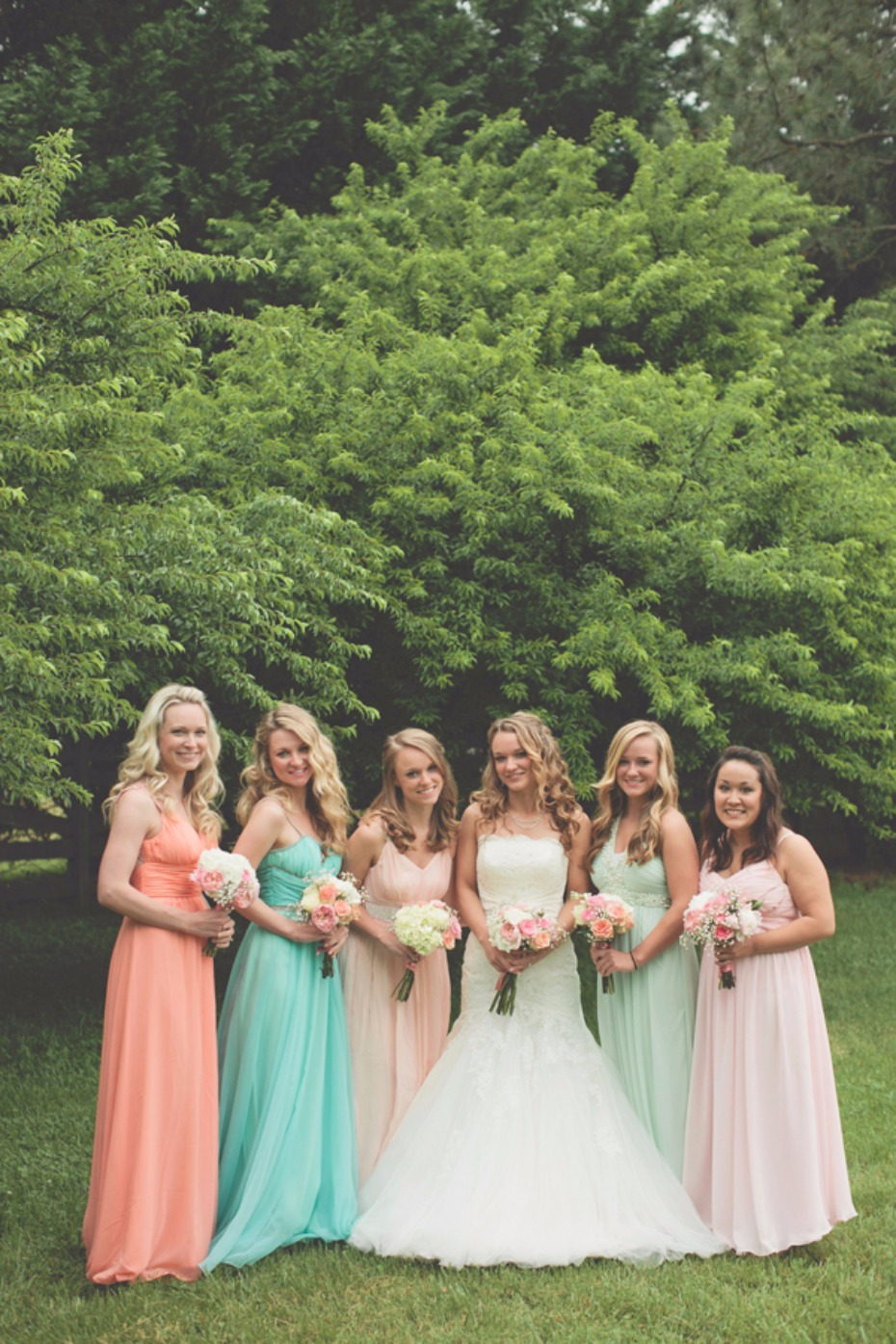 bridesmaids in blush and teal