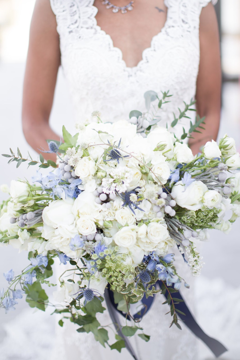 Regal white and blue bouquet