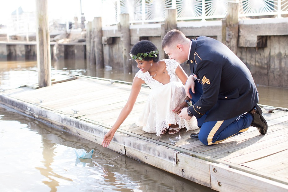 Cute boat release for a seaside wedding