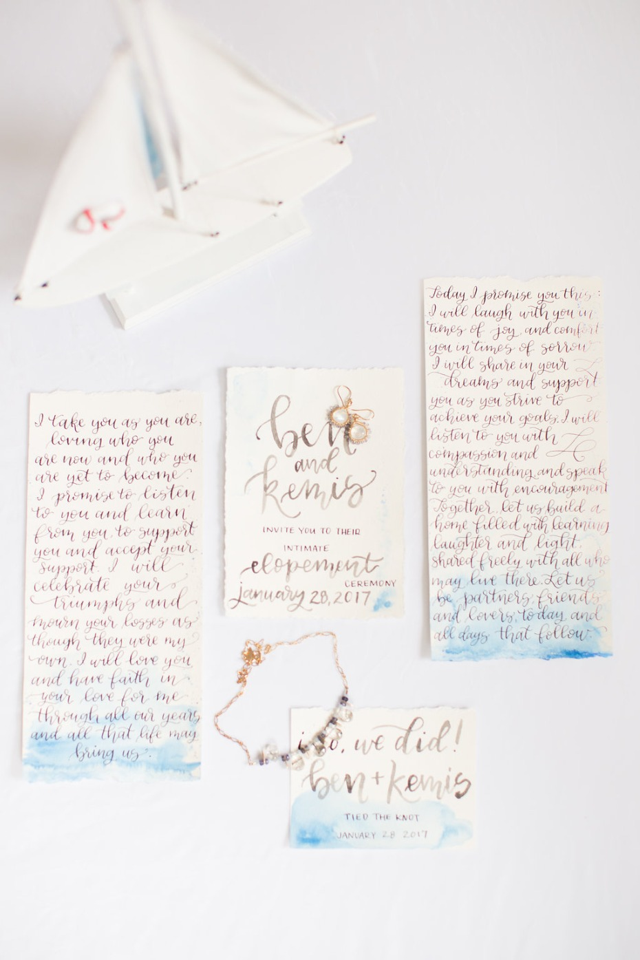 Blue watercolor invitation suite inspired by the sea