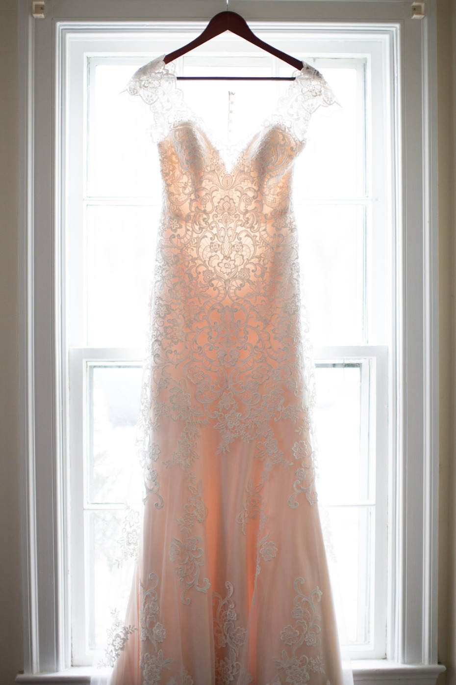 Blush lined wedding dress