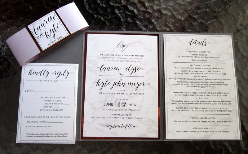 Crushing on this combination of marble, rose gold foil, and violet shimmer paper in Lauren and Kyle's custom invitation set by Persnickety