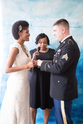 Blue and Gold Watercolor Inspiration turned Real-Life Vow Renewal