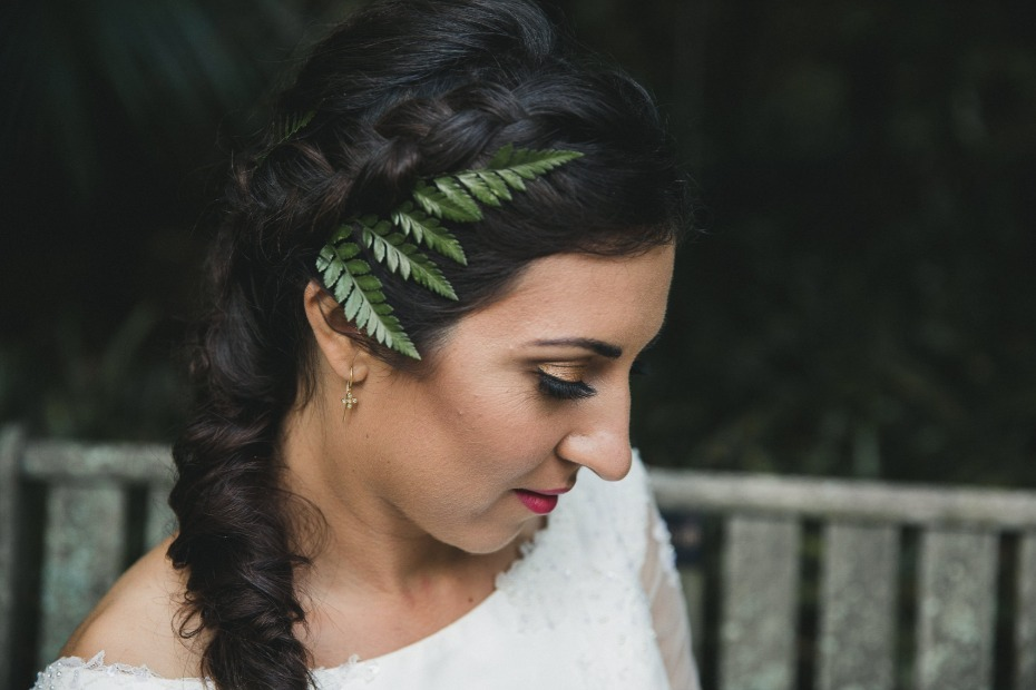 fern accented wedding hair idea