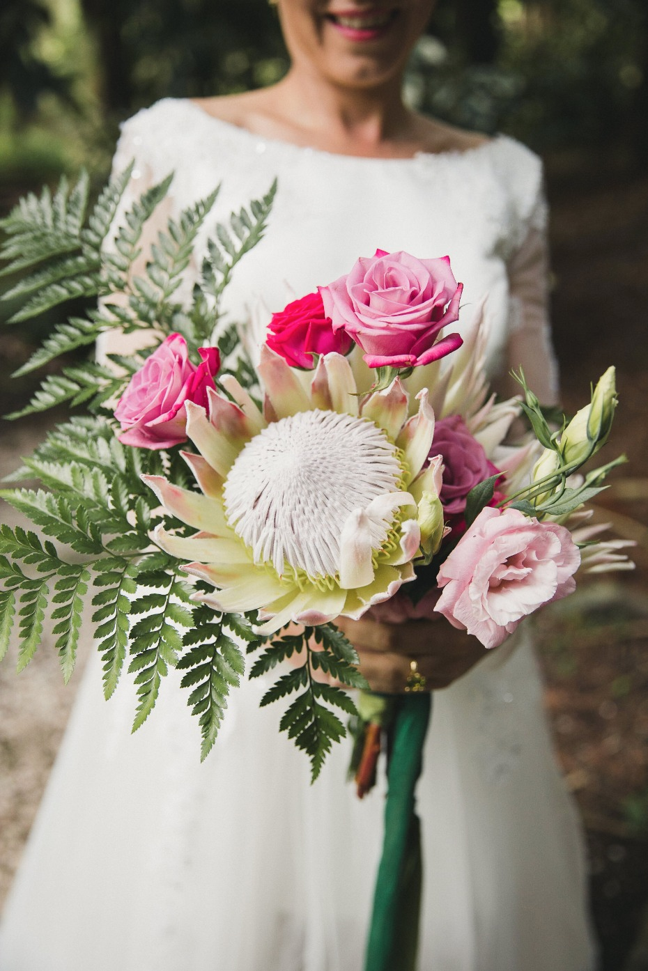 protea and rose wedding bouquet