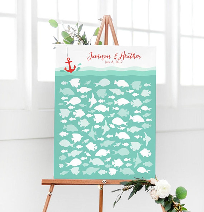 Miss Design Berry's guest book has fish for all of your guests to sign at your beach or nautical wedding reception. Afterwards you