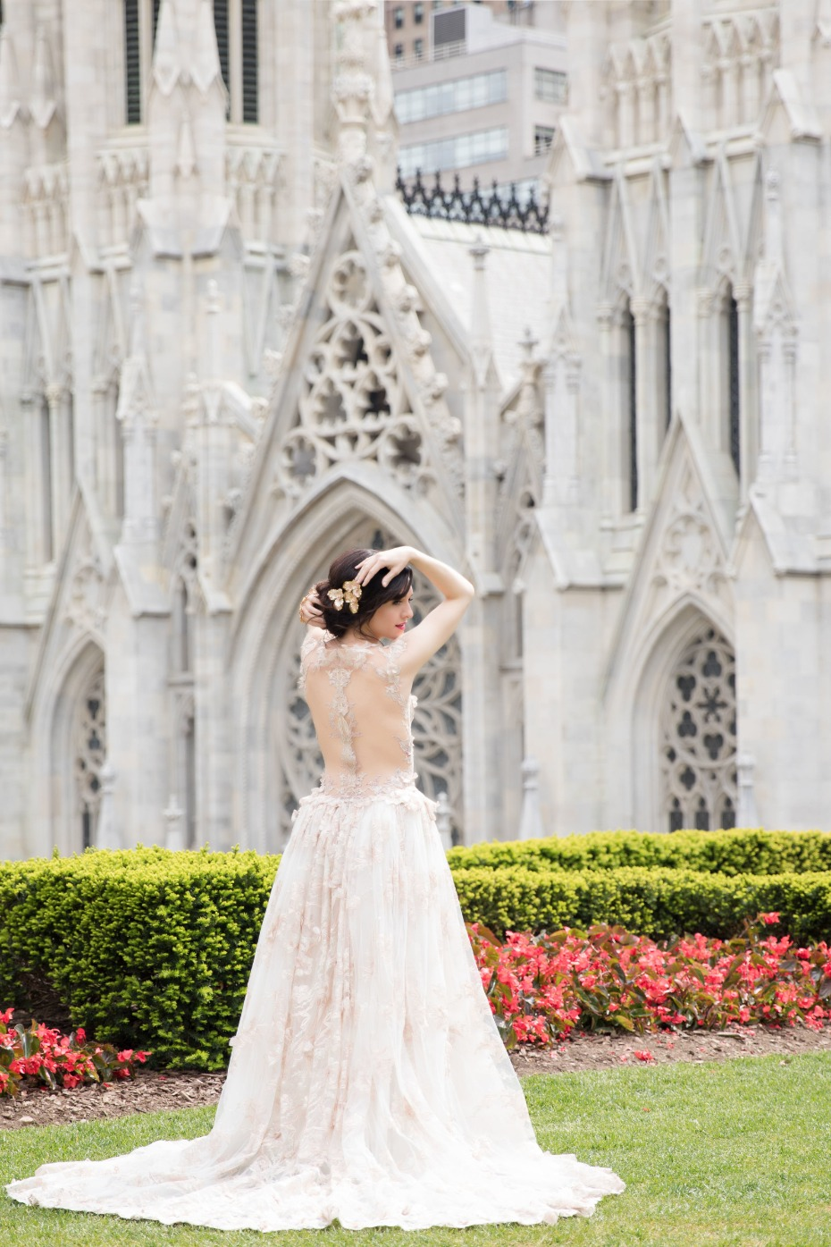 The back of this Galia Lahav gown is to die for