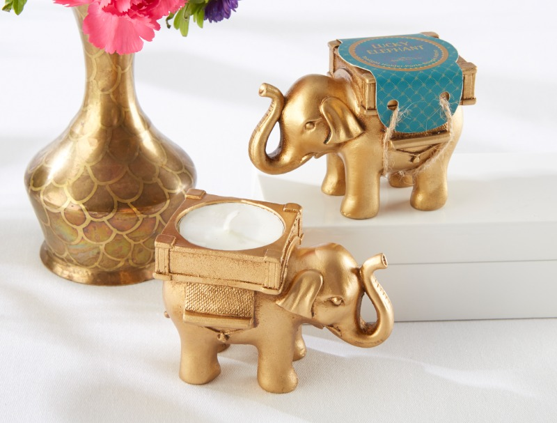 These elegant Lucky Gold Elephant Tea Light Holders are perfect for your radiant Indian wedding or bridal shower.
