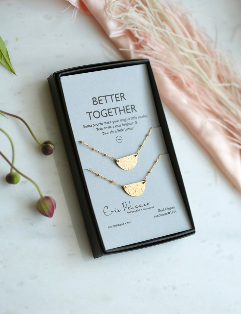 Two halves are better than one. This artisan crafted necklace set is perfect for friendship, besties, and sisters.