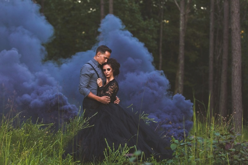 Dramatic smoke bomb photography makes the perfect backdrop for our black tulle skirt. Just stunning.