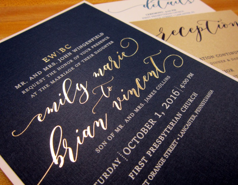 Gold foil on navy is pure love. Design by Persnickety Invitation Studio.