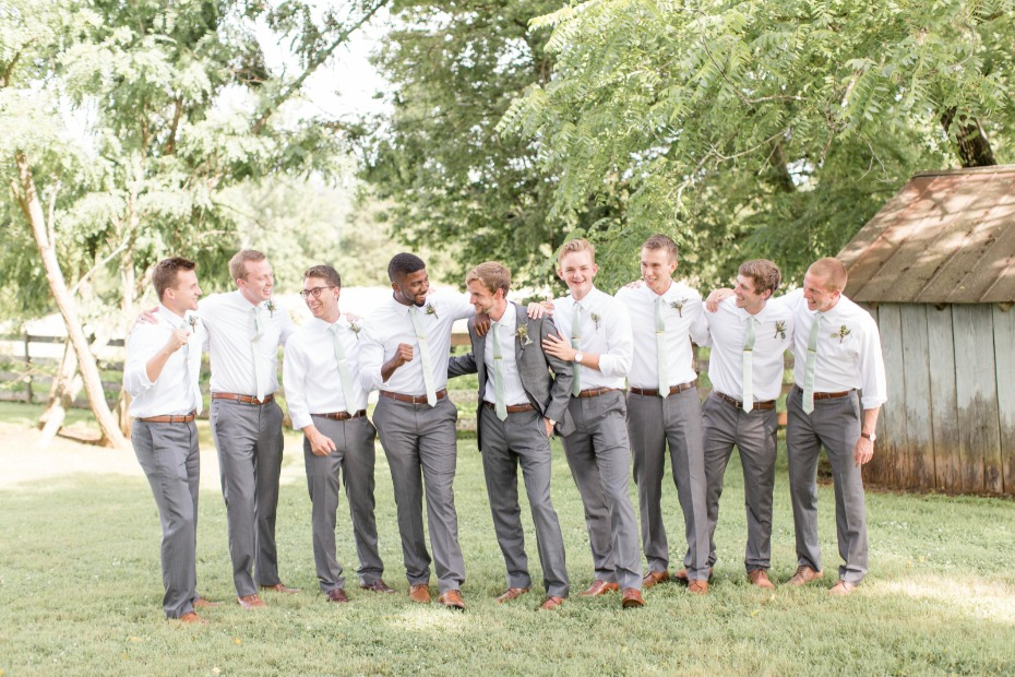 gray and mint groomsmen look
