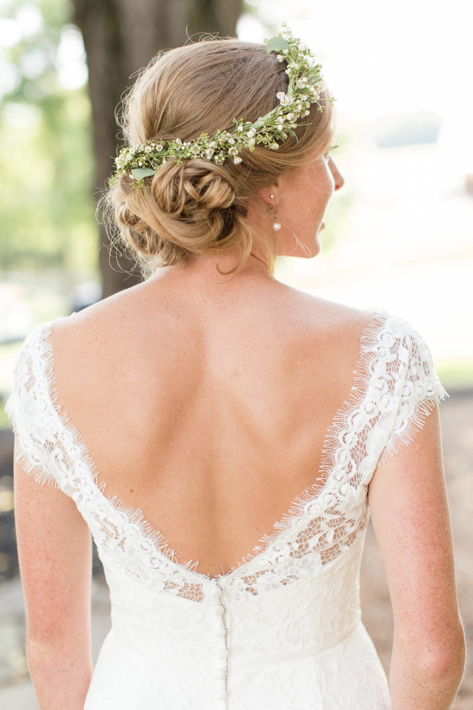 simple mint and white flower crown paired with an antique lace dress