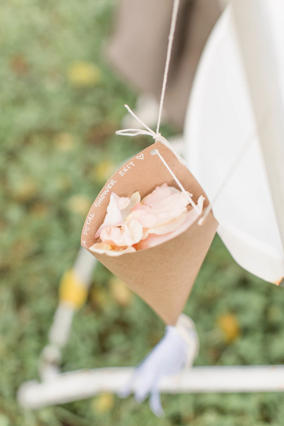 guests throw rose petals down the aisle