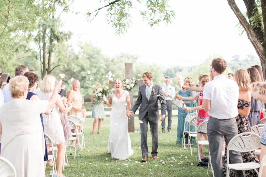 guests tossed rose petals after the ceremony