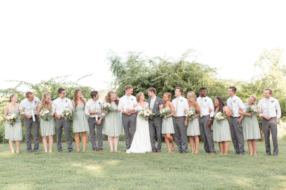mint and green wedding party