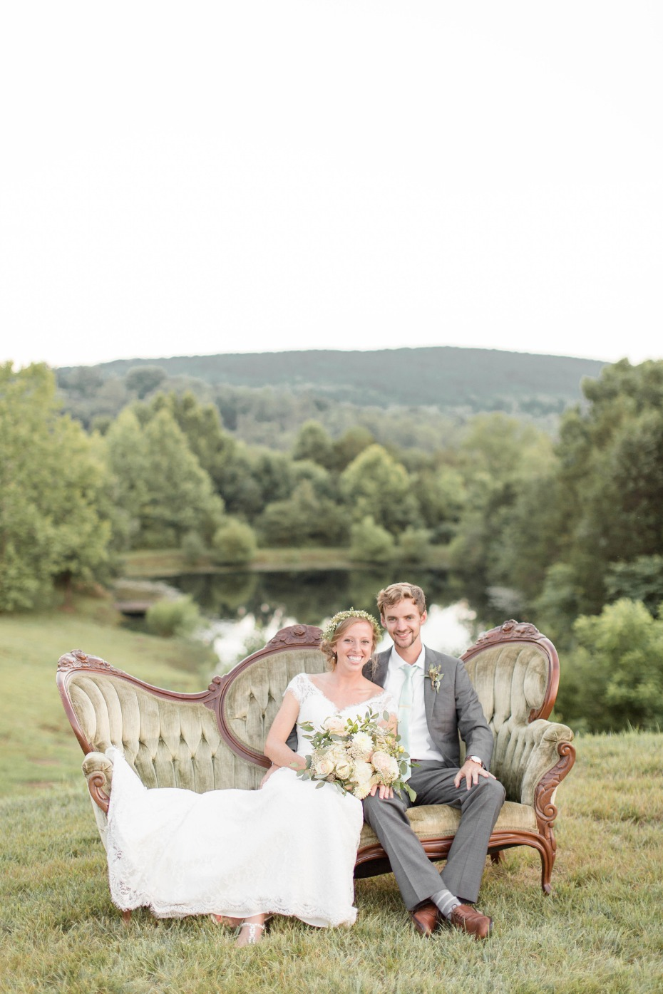 use vintage furniture as prop for wedding portrait