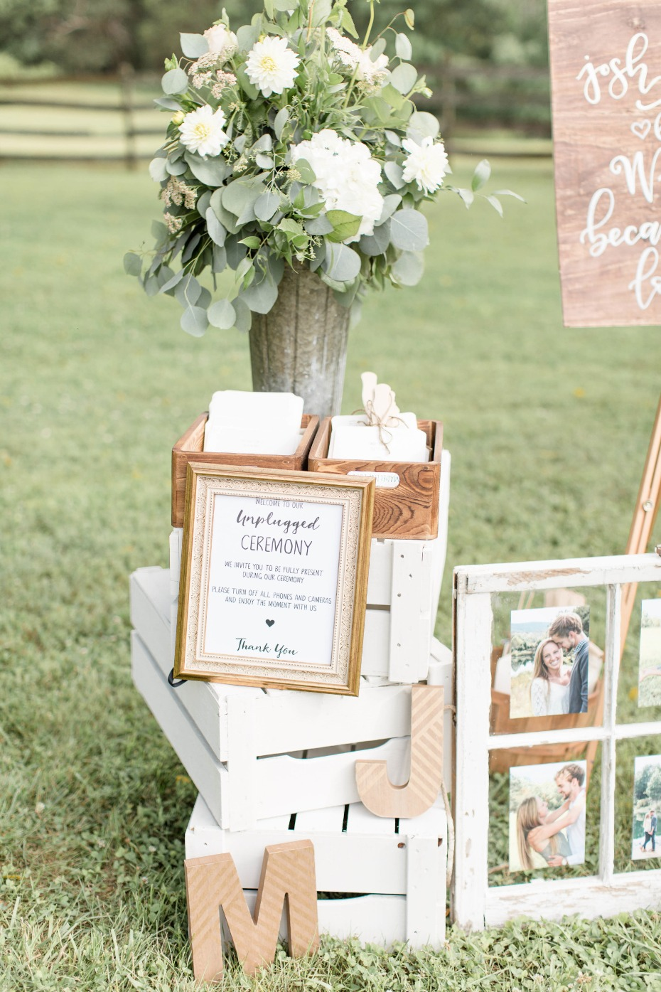 unplugged ceremony sign in a vintage frame