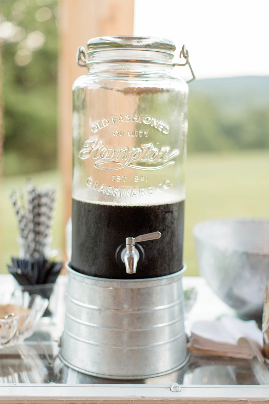 iced coffee in vintage drink dispensener