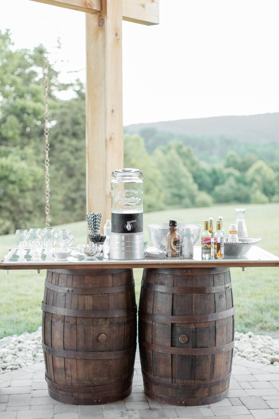 Wedding food station idea. Iced Coffee Bar with striped straws, syrups and creamers