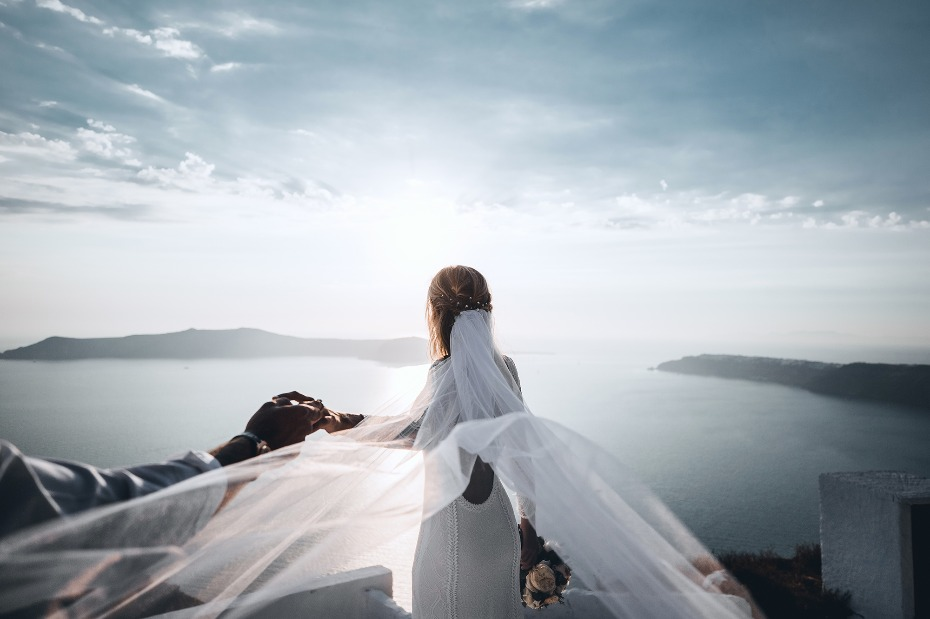 Island Tribe destination wedding dress.