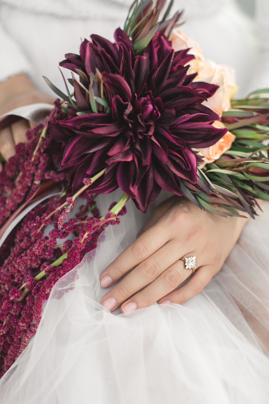 black dahlia wedding bouquet