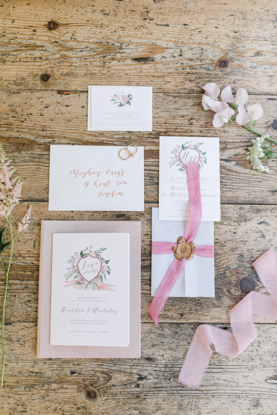 Whimsical garden invitation suite
