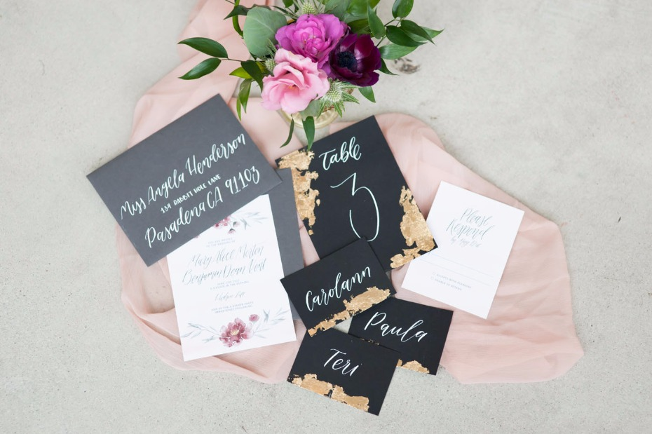 Edgy romance invitation suite