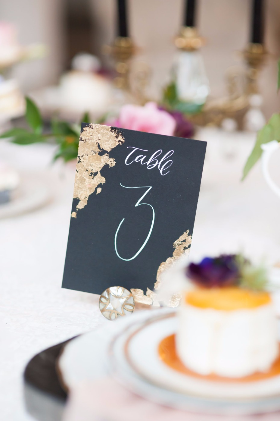 Edgy table number with gold foiling