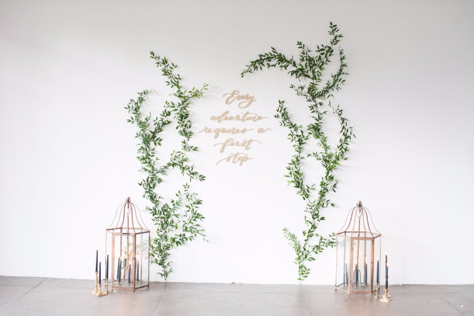 Gorgeous and simple ceremony backdrop