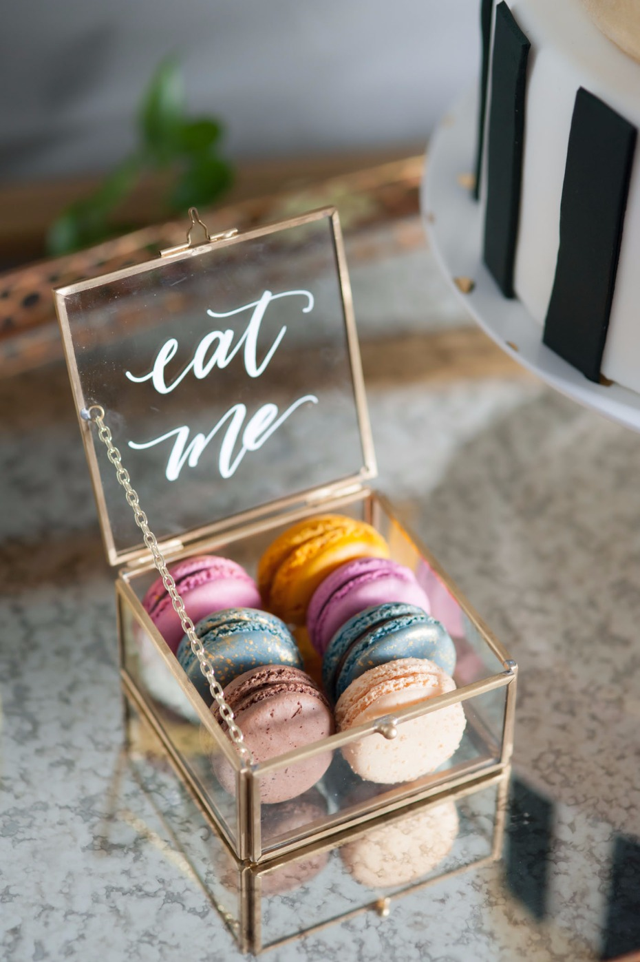 """Eat me"" box of macarons"