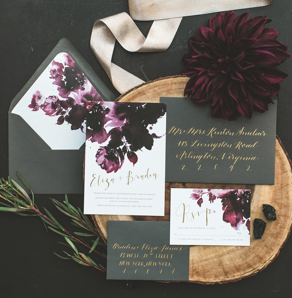 fall chic wedding invitations