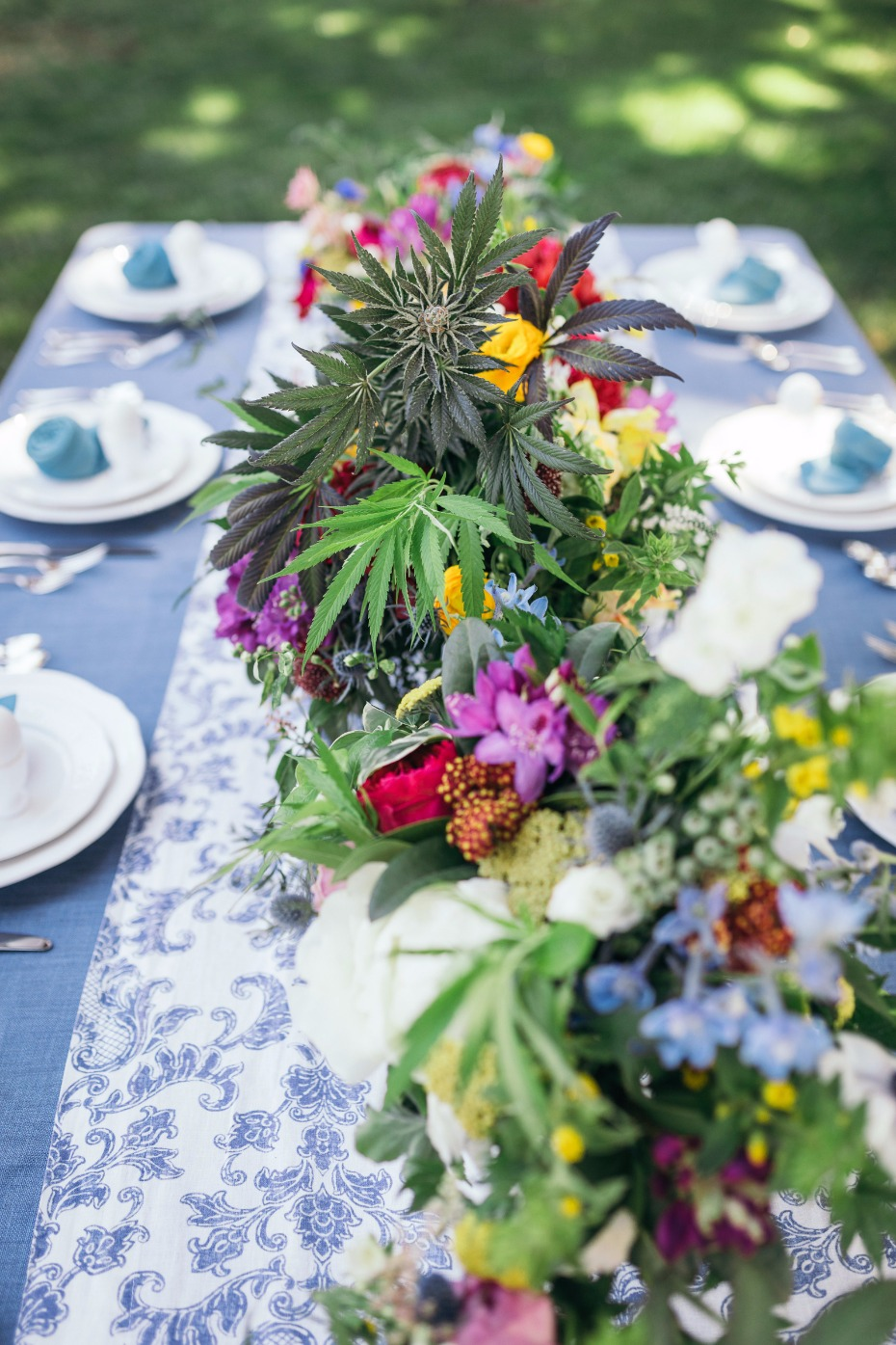 Cannabis centerpiece idea for a 420 wedding