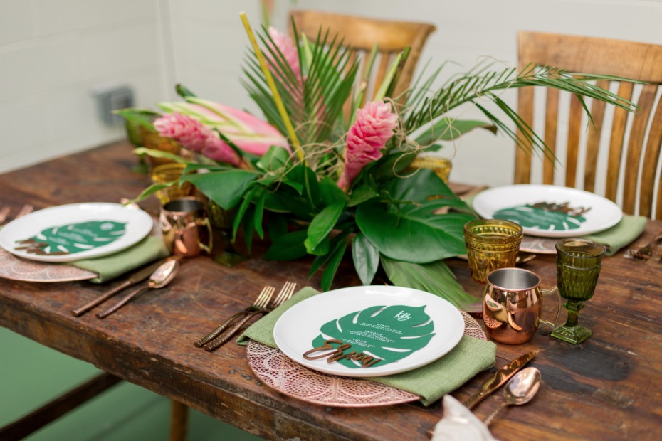 copper and green tropical wedding table