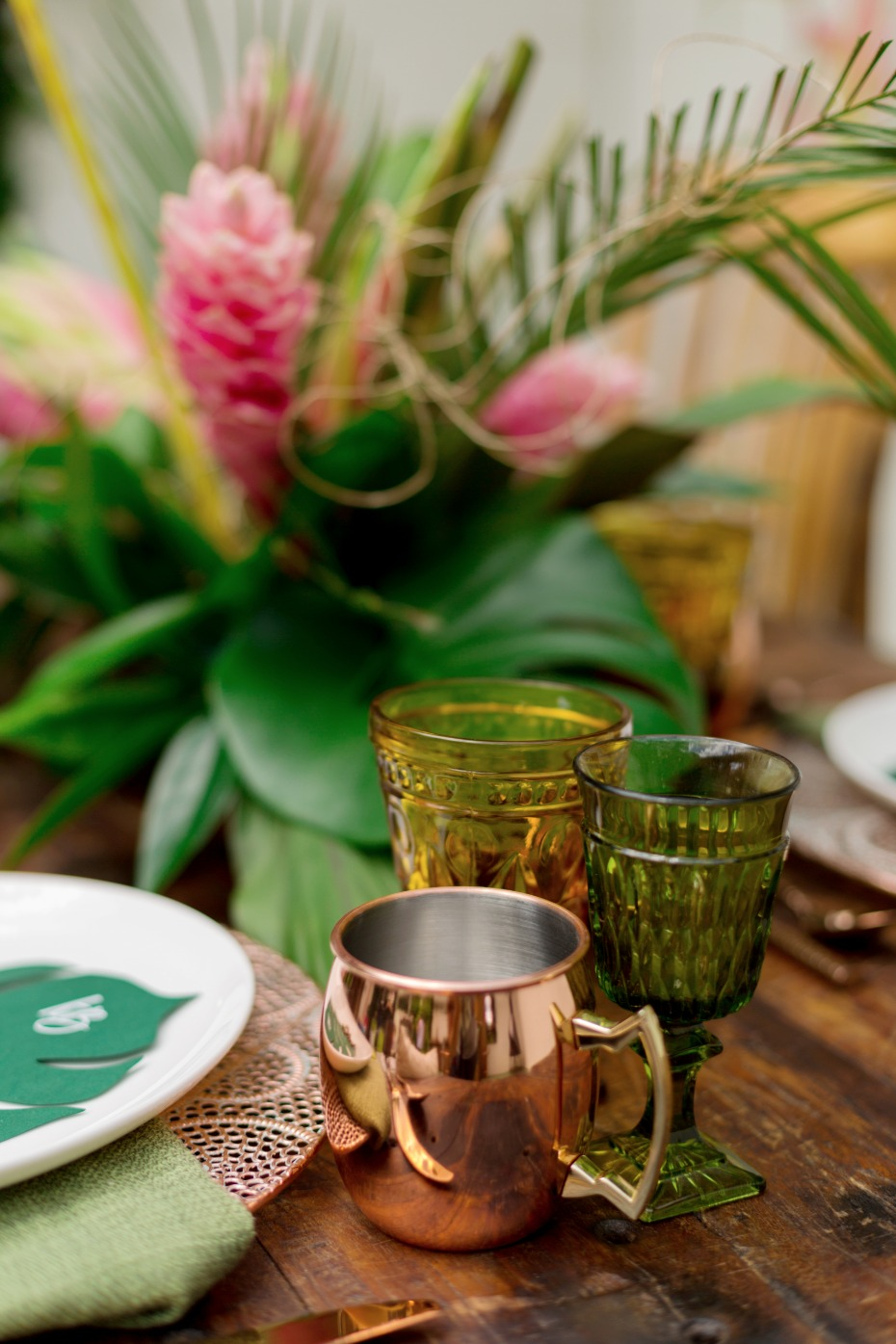 copper and tropical wedding table
