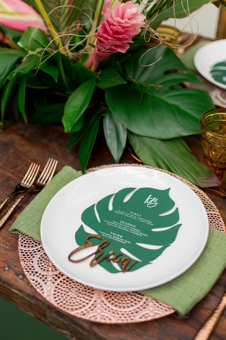 copper charger and laser cut leaf wedding menu