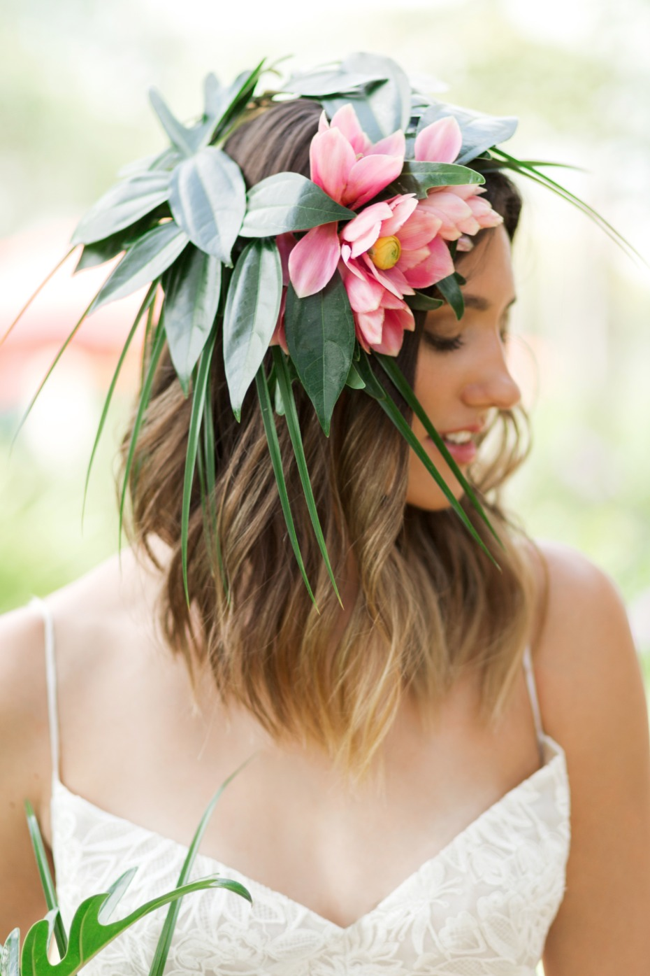 tropical wedding halo