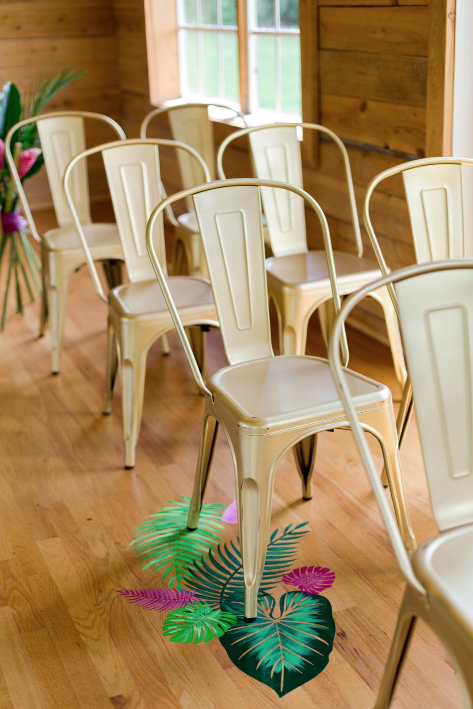 modern wedding seating with tropical floor decals